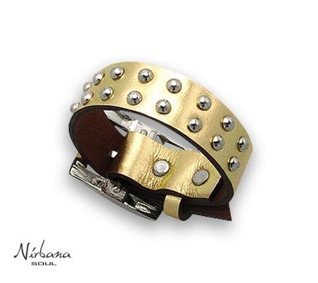 Vasari læderarmbånd i guld