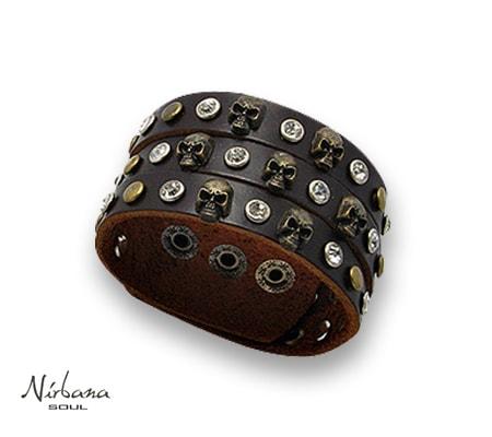 Vasari læderarmbånd med skulls