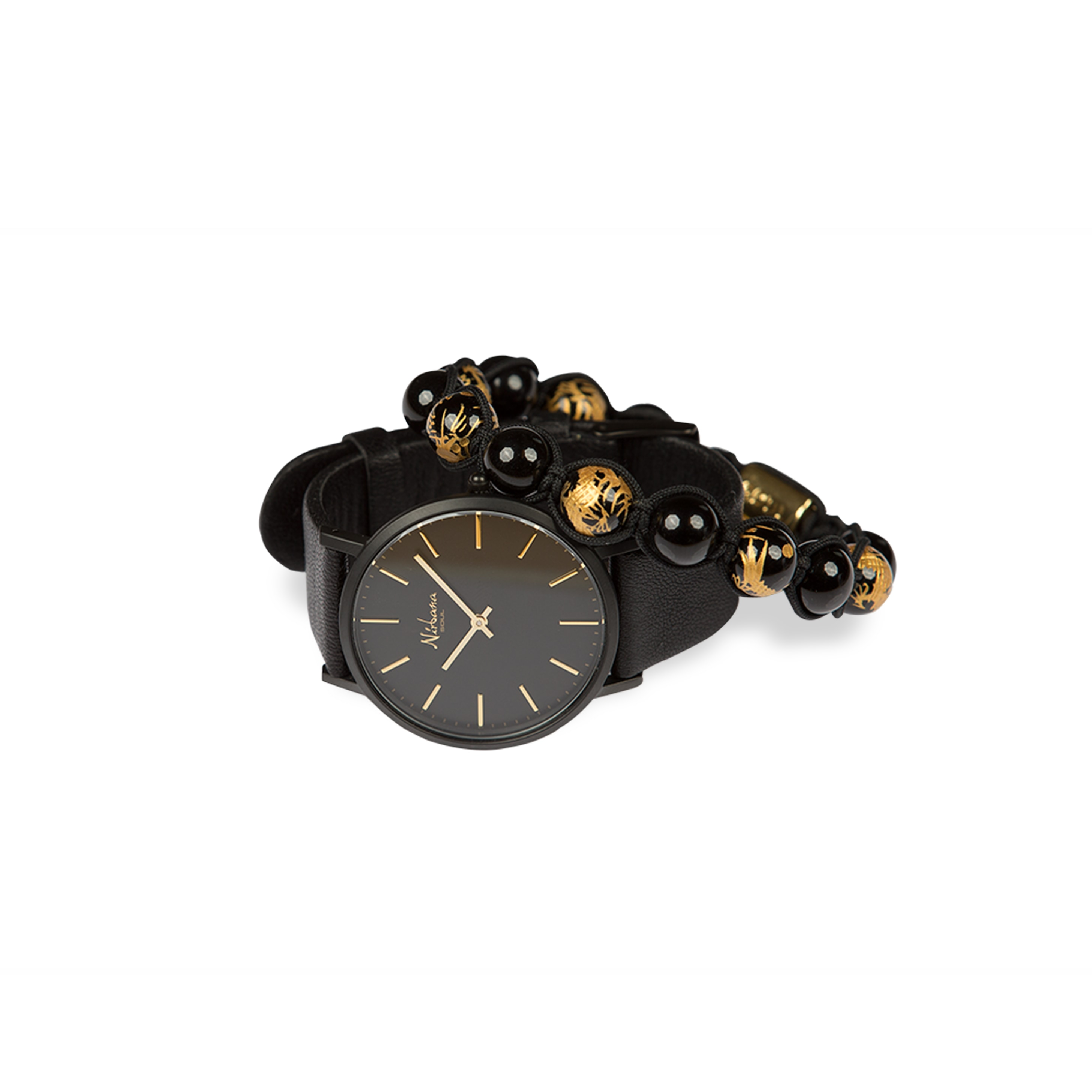 Image of   Classic Black Ur + Draco Gold Armbånd