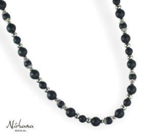 Matsort / sølv halskæde