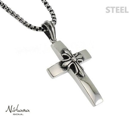 Stål halskæde med kors