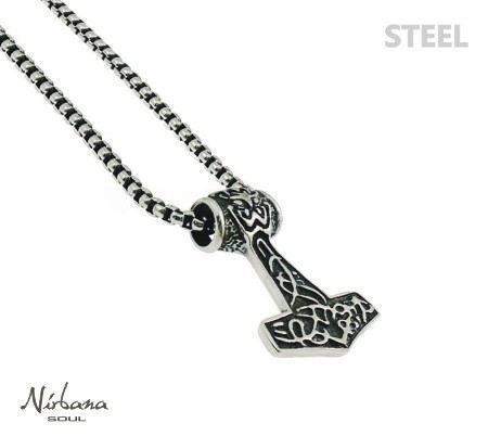 Stål halskæde med Thors hammer