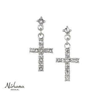 Kors øreringe med krystaller