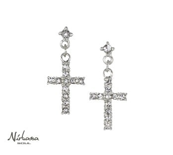 Image of   Cross earrings with crystals