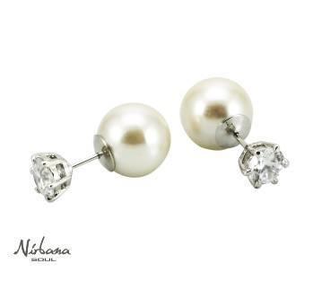Perle & krystaløreringe i Hvidguld