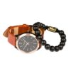 Classic Delux Black/Rosegold Ur + Frosted Agate armbånd 1