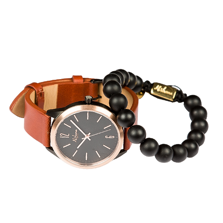 Image of   Classic Delux Black/Rosegold Ur + Frosted Agate armbånd