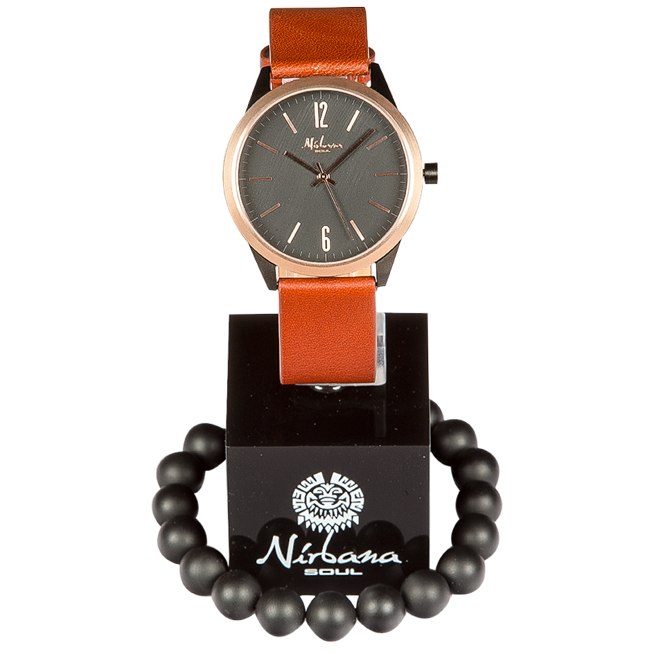 Classic Delux Black/Rosegold Ur + Frosted Agate armbånd 2