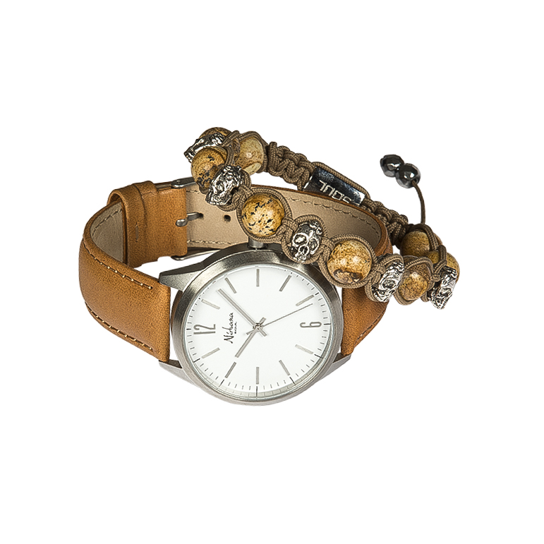 Image of   Classic Delux Silver/Brown Ur + Skulls armbånd Kepala
