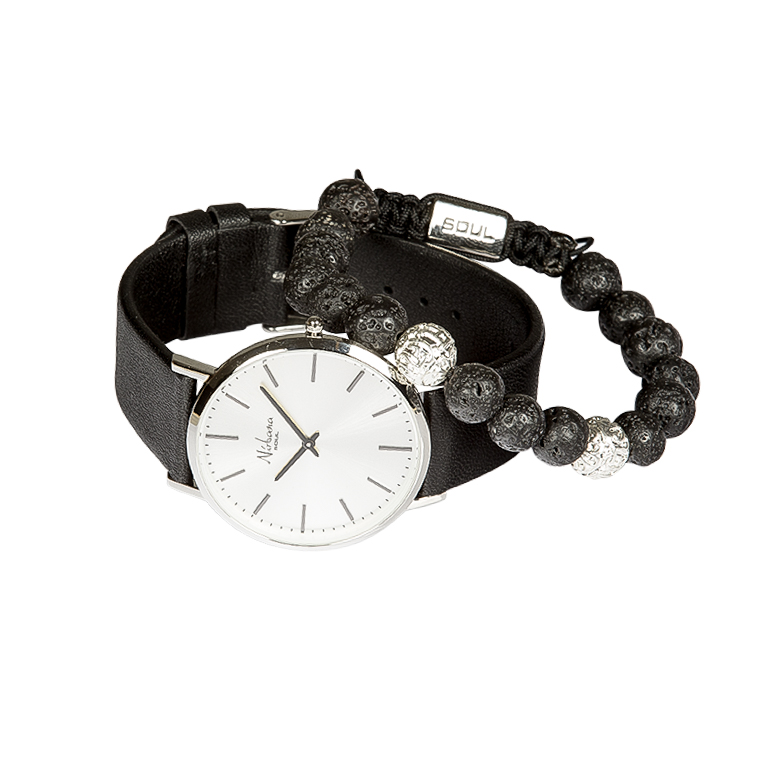 Image of   Classic Silver Ur + Herero Lava Armbånd